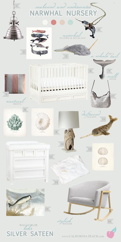 California Peach Narwhal Nursery Nursery Baby Room