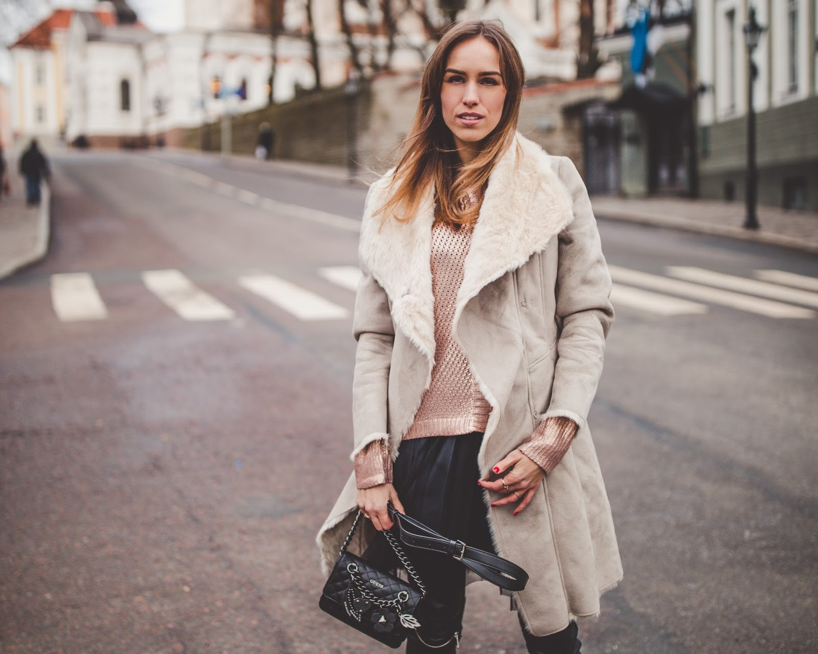 beige shearling coat fall outfit