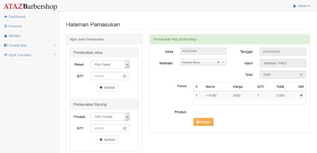 PHP Kasir Barbershop Berbasis Web