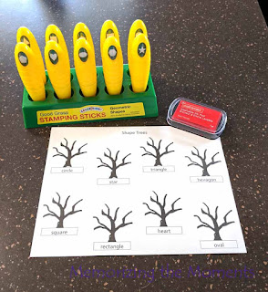 """Fall theme shape """"leaves"""" stamping trees for Preschool"""