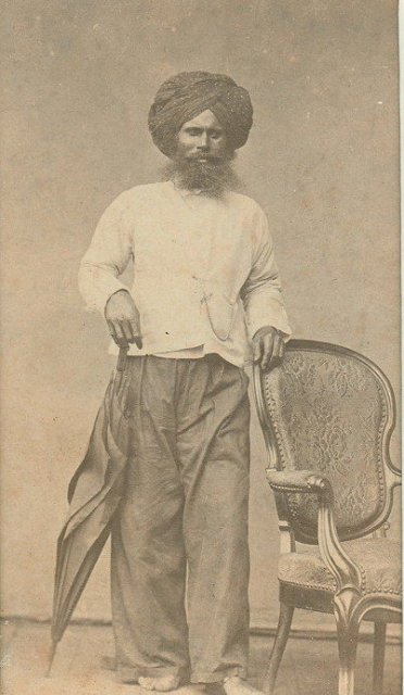 Vintage Photograph of a Indian Man in Studio - c1865