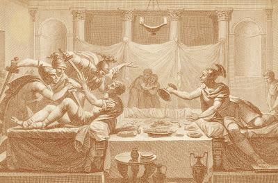 Este grabado del siglo XIX recrea la escena de la muerte de Quinto Sertorio, en un banquete al que fue invitado por algunos correligionarios para celebrar una supuesta victoria sobre sus rivales.
