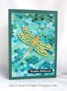 Libelle in gold, gründ und balutöne verschiedene HIntergrund Variationen mit dem Stampin' Up! Stempel all wired up und Farben, Idee von Stampin' Up! Demonstratorin in Coburg