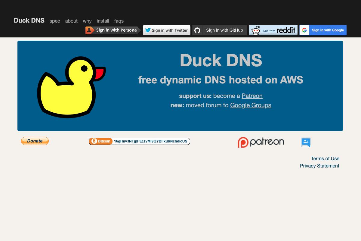 Sito web di Duck DNS