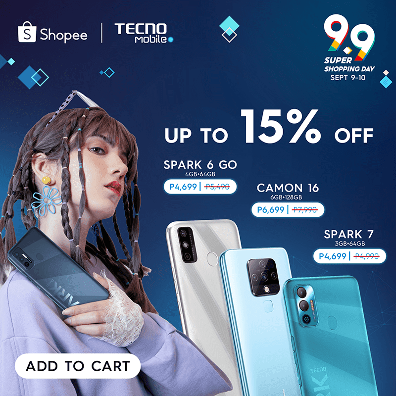 TECNO announced its Shopee and Lazada 9.9 deals for select devices
