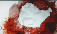 Marinating chicken with yoghurt salt Chilli powder for chicken curry recipe