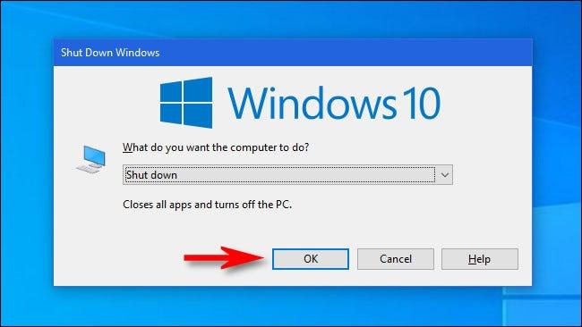 """مع إغلاق جميع النوافذ أو تصغيرها ، اضغط على Alt + F4 ، ثم انقر على """"موافق""""."""
