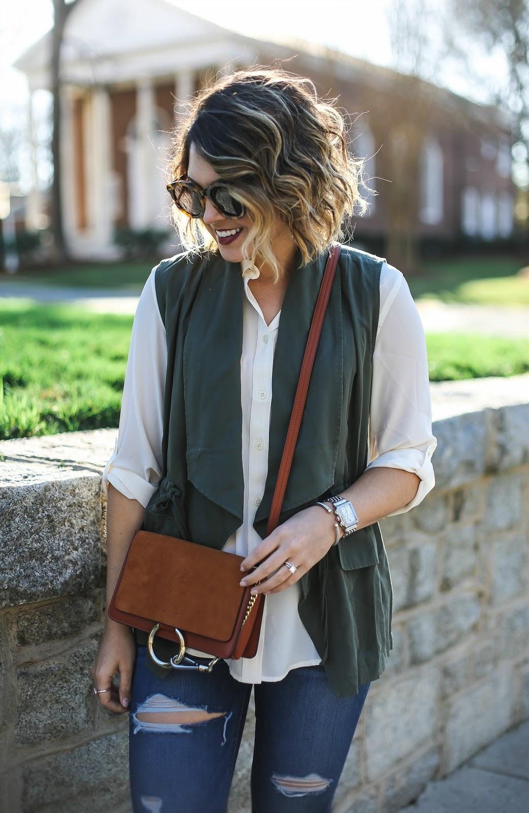 loft utility vest, chloe faye, karen walker sunglasses