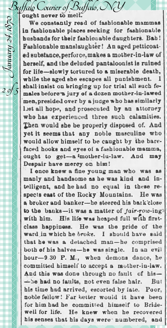 Kristin Holt | the Victorian-American Mother-in-Law. From Buffalo Courier of Buffalo, NY on January 24, 1870: Hugh Murr on Mothers-in-Law. Part 2 of 5.