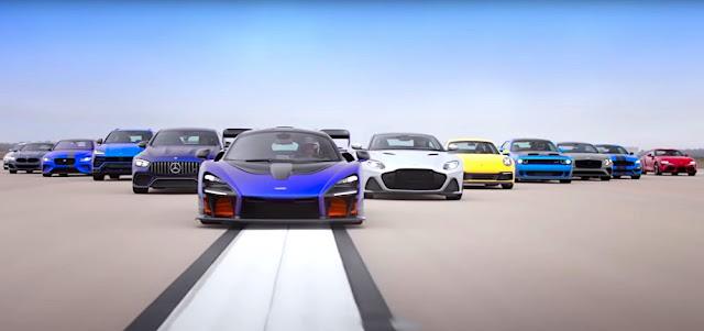 「スープラ」から「マクラーレンセナ」まで!12台の高性能モデルでドラッグレース対決。