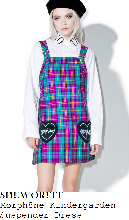 jade-thirlwall-morph8ne-kindergarden-bright-purple-turquoise-yellow-black-and-white-tartan-plaid-print-sleeveless-square-neckline-heart-logo-pocket-detail-a-line-pinafore-mini-dress