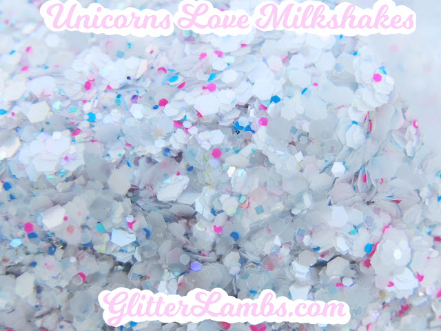 "Glitter Lambs ""Unicorns Love Milkshakes"" Loose Glitter Mix Craft Glitter Nail Art Glitter White Opal Hex Blue Pink Hex Glitter"