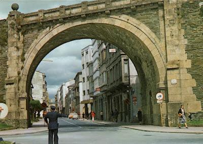 Lugo, tarjeta, postal, muralla, puerta, Obispo Odoario