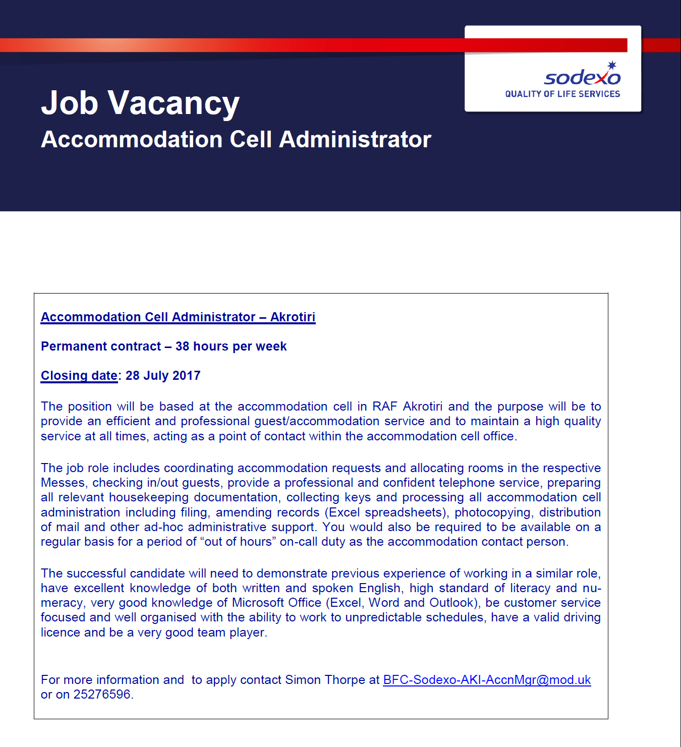 AKROTIRI HIVE: Job Vacancy