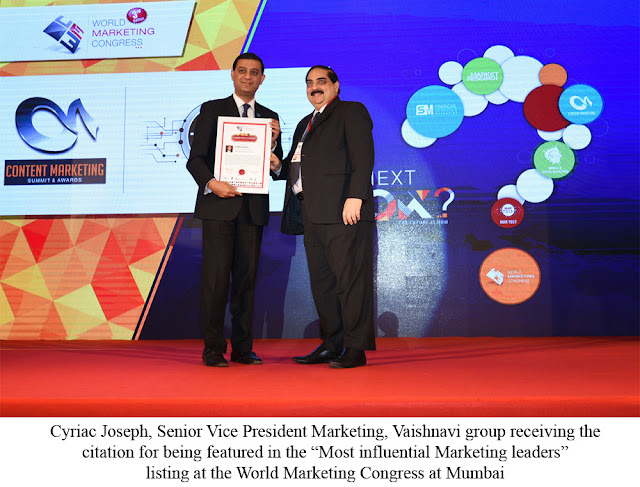 "Cyriac Joseph, of Vaishnavi group featured in the ""Most Influential Marketing Leaders"""