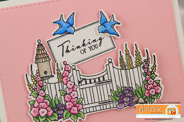 Thinking of You Card by Juliana Michaels featuring Gina K Designs Cottage Garden Stamp Set by Claire Brennana