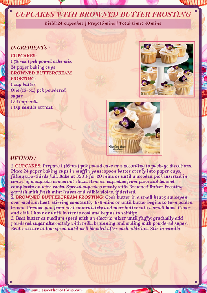 CUPCAKES WITH BROWNED BUTTER FROSTING RECIPE