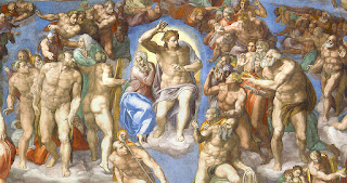 Detail from Michelangelo's fresco, The Last Judgment, in the Sistine Chapel