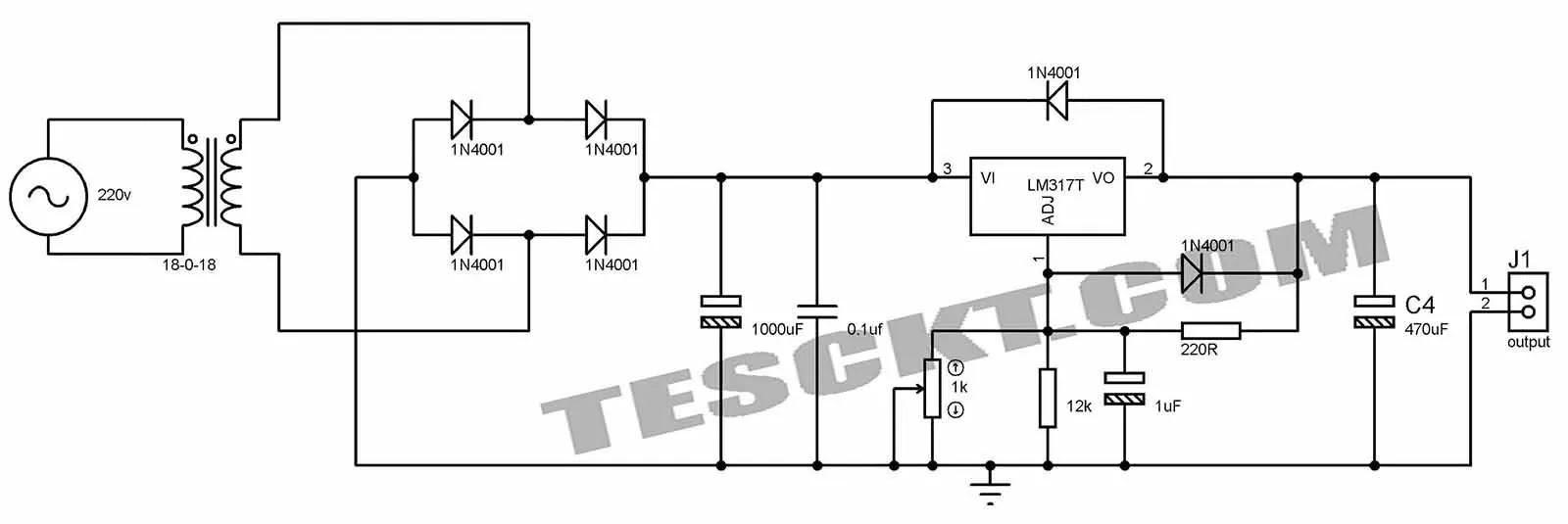variable power supply circuit using lm317