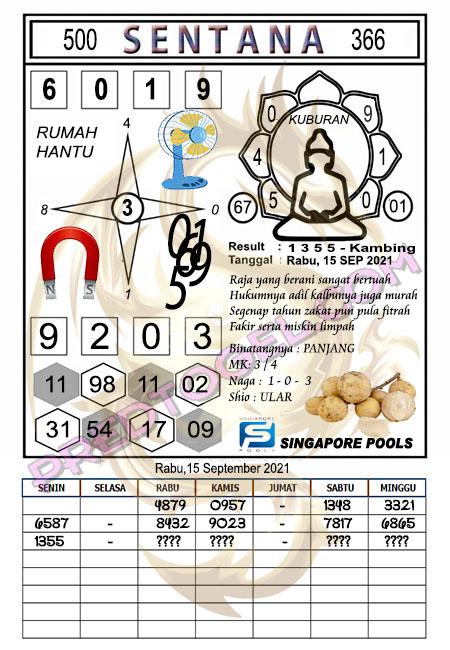 Syair Sentana Singapura Rabu 15-September-2021