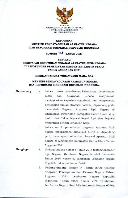 Formasi ASN 2021 Pemkab Barito Utara