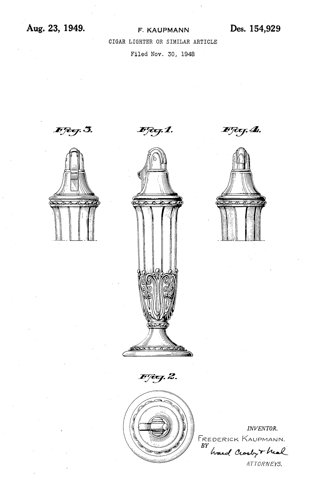 Table lighters collectors' guide: Patent: Ronson Juno