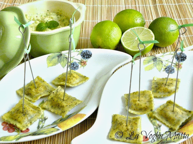 ravioli alla menta e pescespada Barone con salsa guacamole
