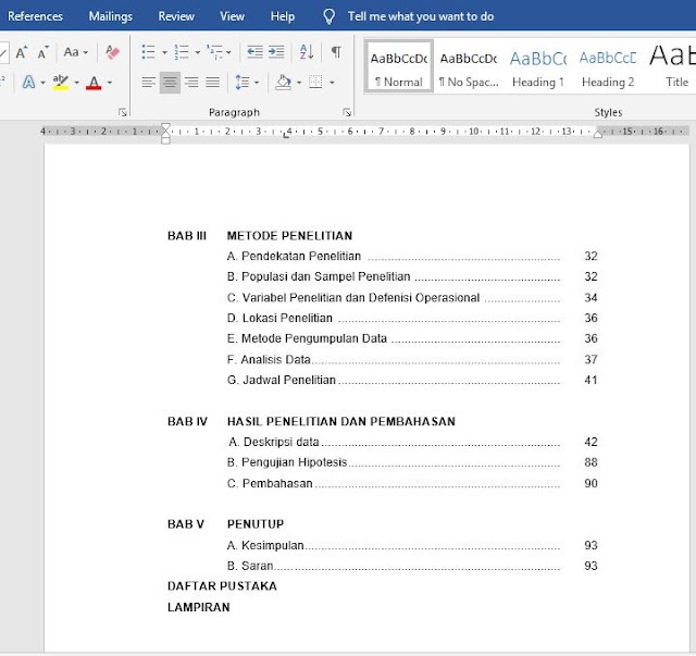 Cara Membuat Daftar Isi Untuk Skripsi