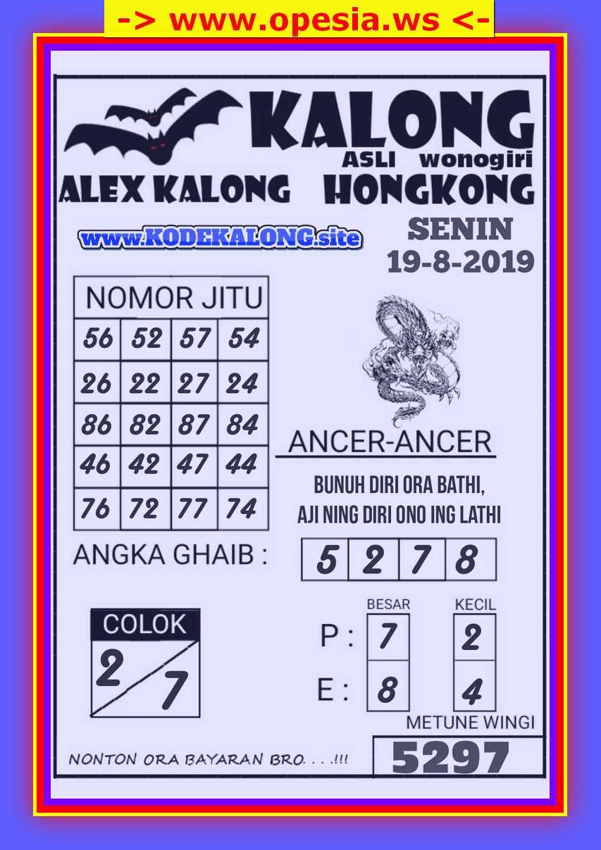 KODE SYAIR HONGKONG SENIN