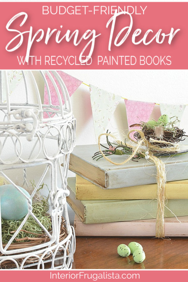 Budget-friendly Spring decor with recycled painted hardcover books, an easy Spring craft idea with French Country style. #springcrafts #springdecorideas #paintedbooks
