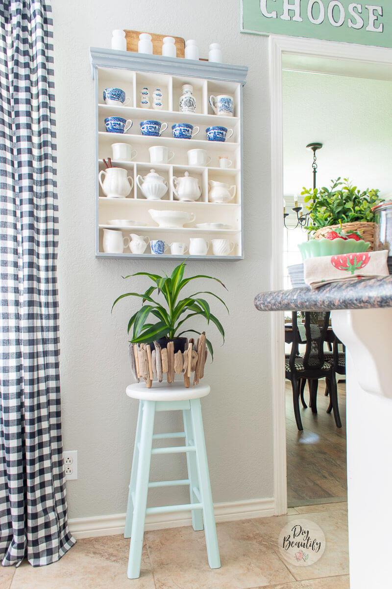 neutral kitchen with DIY driftwood planter