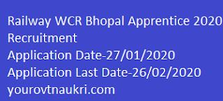 Railway WCR Bhopal Apprentice 2020 Recruitment,RRC WCR Bhopal Trade Apprentice Recruitment 2020