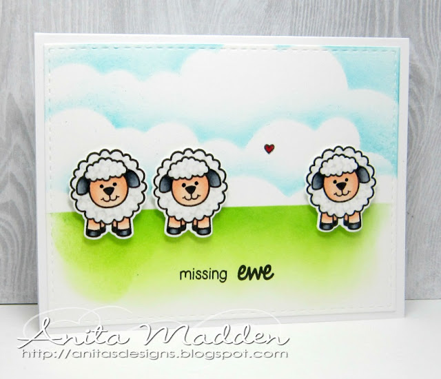 Sunny Studio Stamps: Happy Owl-o-ween and Missing Ewe Missing You Card by Anita Madden