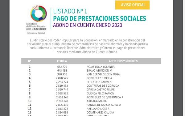 LISTADO Nº 1 PAGO DE PRESTACIONES SOCIALES ABONO EN CUENTA ENERO 2020