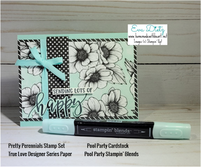 Sending Lots of Happy card made with Mint Macaron cardstock and Black and White True Love Designer Series Paper Pretty Perennials stamp set Card