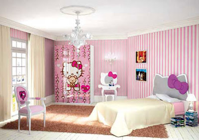 chambre coucher en rose Hello Kitty