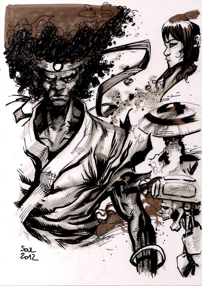 Drink N Draw Paris Afro Samurai By Soul