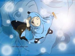 kartun islami, kartun gambar muslimah lucu