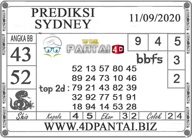 PREDIKSI TOGEL SYDNEY PANTAI4D 11 SEPTEMBER 2020