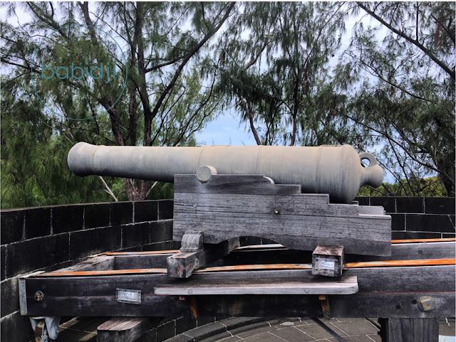 canon sur le toit du musée de la Tour Martello à La Preneuse