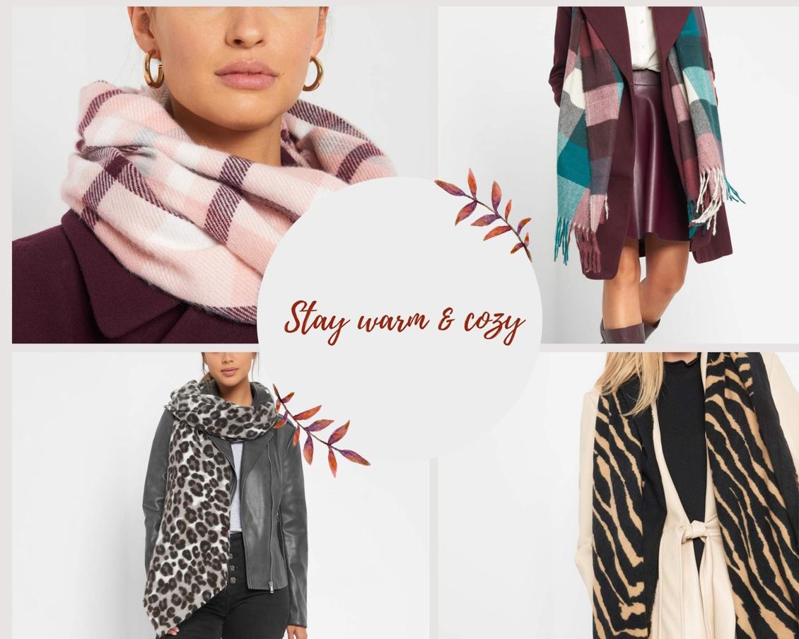 Stylische und bequeme Herbstoutfits - Inspiration - Schals - Animal-Print - Karo