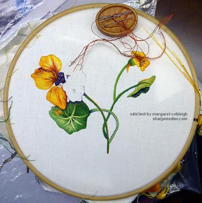 Main thread painted nasturtium almost done. (Catherine Laurencon Capucines (Inspirations))