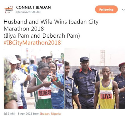 Excitement As Husband & Wife Win Ibadan City Marathon 2018