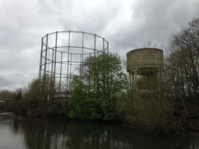 Gasometer and water tower, near Reading, Berkshire