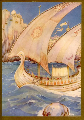 A ship from Arabian nights book by Anton Pieck
