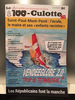 Sinon ce mois-ci dans le Sans-Culotte 85, le dessin de Une sur le Vendée Globe et l'abus de technologie. D'ailleurs ce mois-ci c'est le 100e ! ©Guillaume Néel