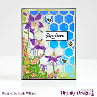 Stamp/Die Duos: Bee-lieve Custom Dies: A2 Portrait Card Base with Layer, Matting Rectangle, Quilted Honeycomb Background, Pierced Rectangles Paper Collection: Spring Flowers 2019