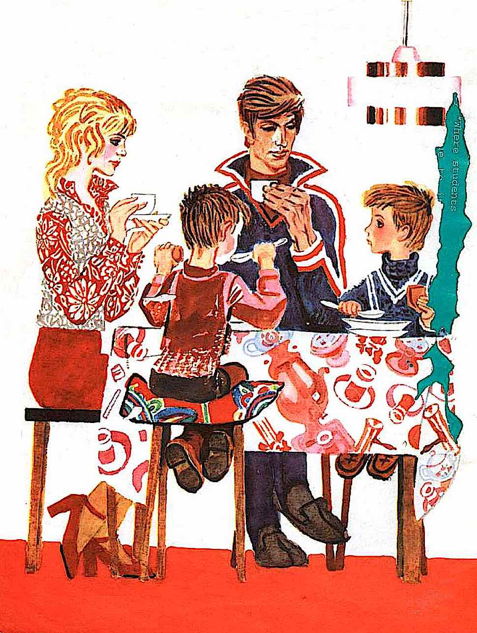 from a Russian children's book 1970s, an ideal family at the dining table