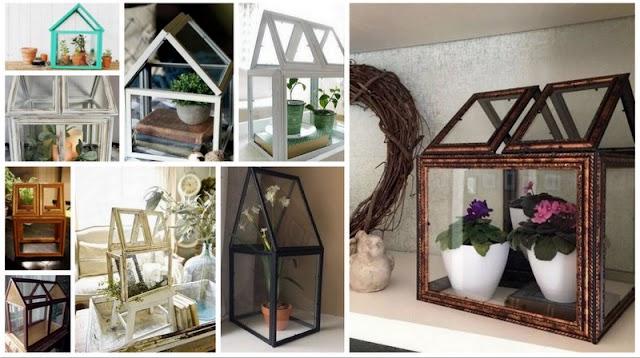 DIY Γυάλινα Διακοσμητικά ...Σπιτάκια για φυτά από Κορνίζες