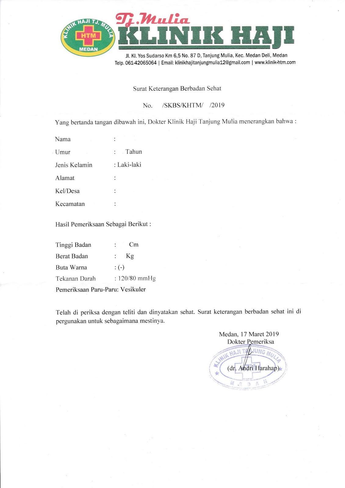 SURAT KETERANGAN BERBADAN SEHAT (Klinik Haji Tanjung Mulia ...